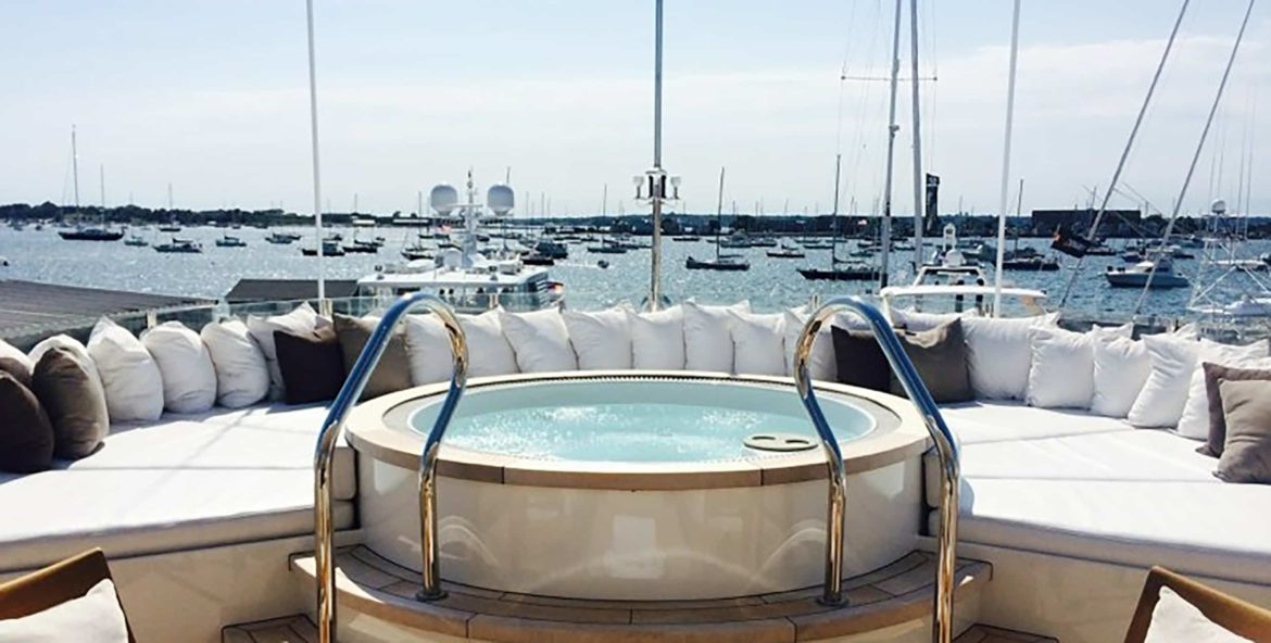 Hot tub on the deck of a superyacht