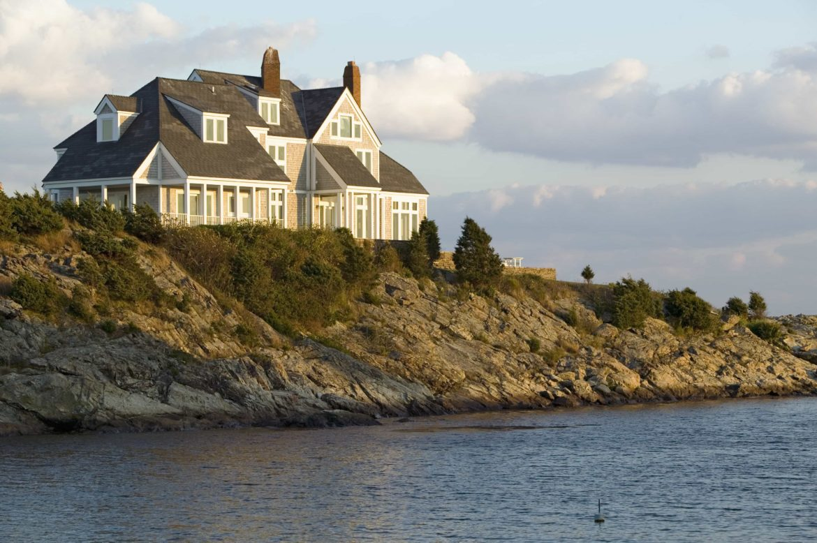 One of the many mansions and villas you can see from the deck of your yacht while sailing in New England