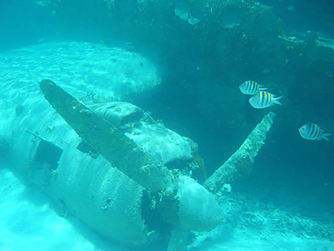 Sunken plane wreck, prefect for snorkeling on your Bahamas vacation.
