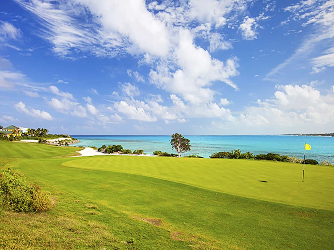 Putting green with an amazing view of the ocean.