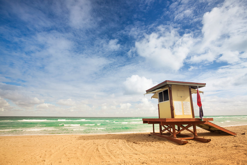 Lifeguard tower on a deserted Florida beach