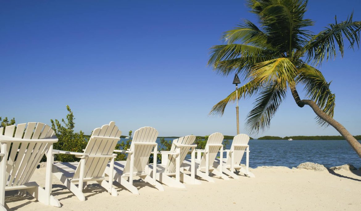 Chairs on a sunny beach in Florida