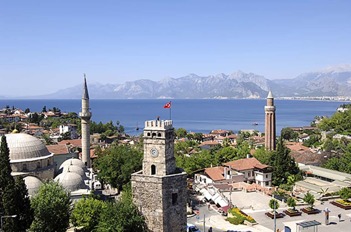 The old town of Antalya is a good place to cool off and have a drink during your yacht vacation to Turkey