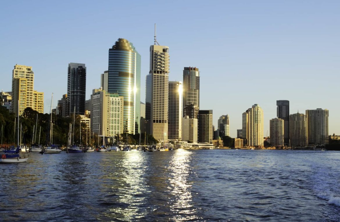 Brisbane skyline as seen from the deck of your superyacht