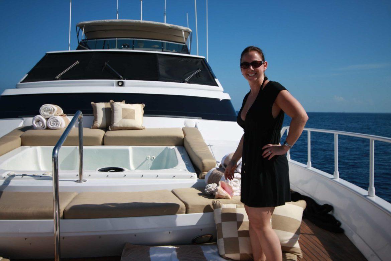 Woman enjoying her yachting vacation