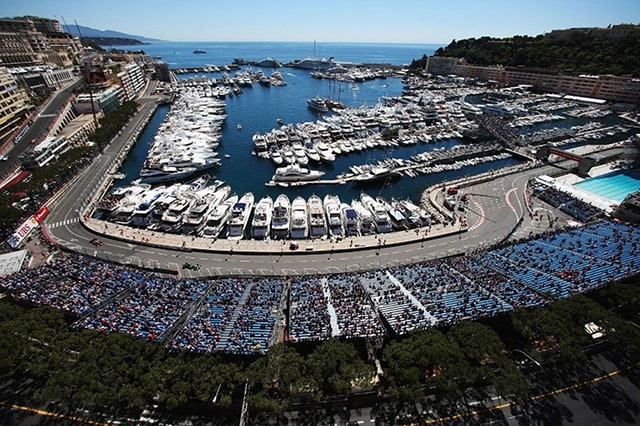 Dozens of yachts in the marina attending the Monaco Grand Prix