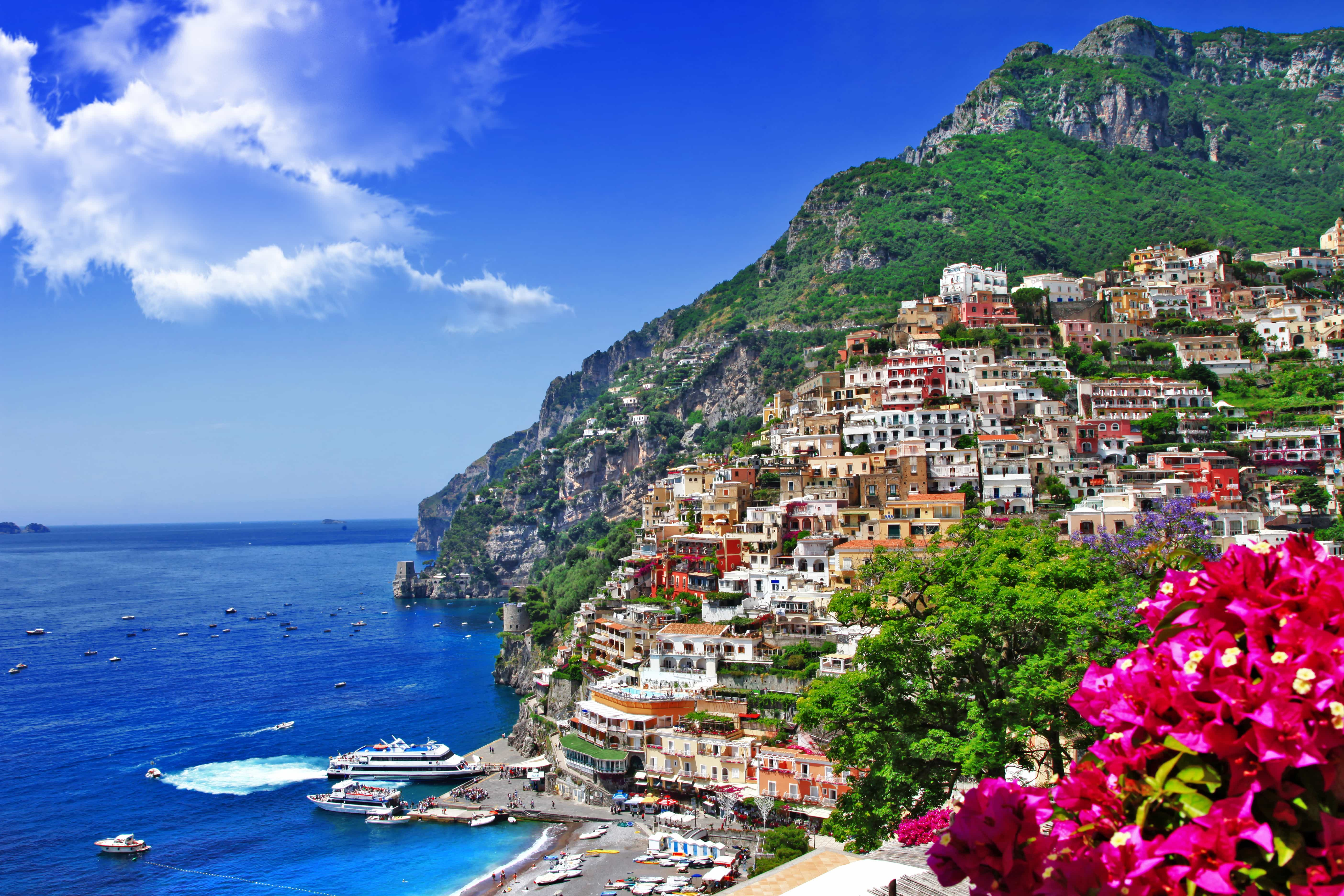view of the Amalfi coast with colourful houses on the cliffside