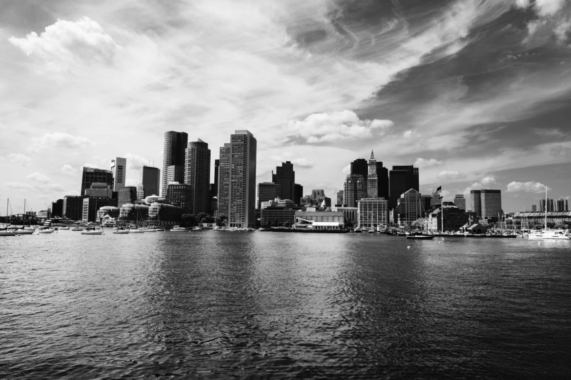 Black and white cityscape as photographed from the sea