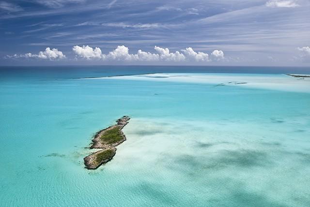 aerial shot of the Exumas islands