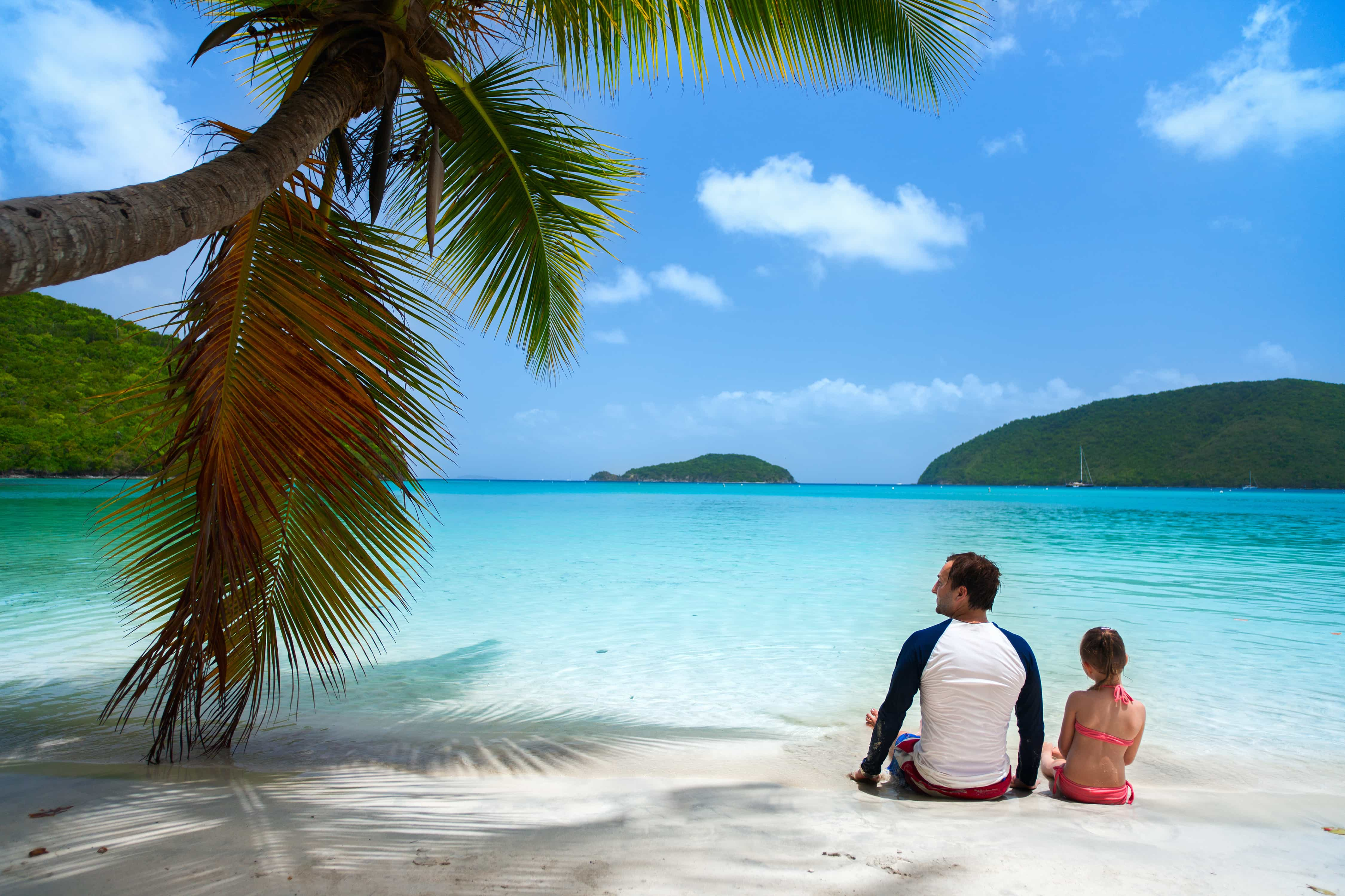 white father and daughter on a white sand beach with palm tree overhanging and turquoise waters in front
