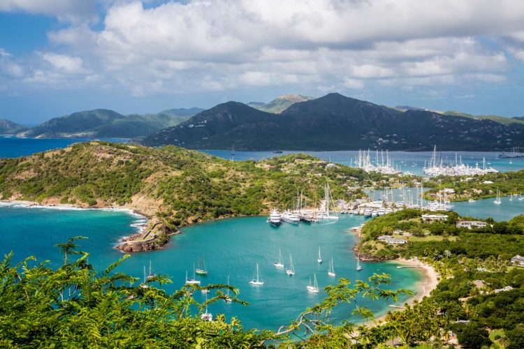 aerial shot of marina in harbor in St Barths