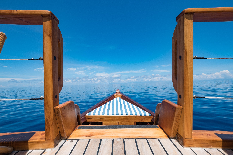 swim deck off wooden yacht