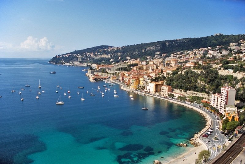 aerial view of harbour in the South of France with boats at anchor