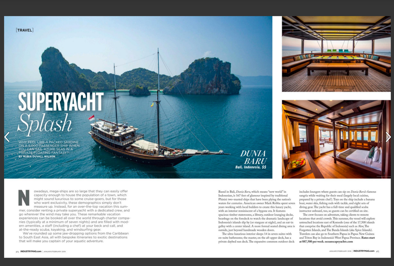 magazine spread with Dunia Baru yacht in Indonesia