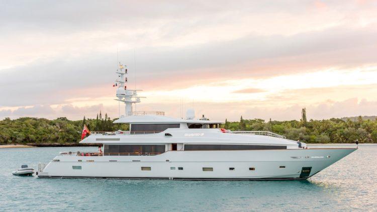 luxury yacht Masteka 2 at sunset