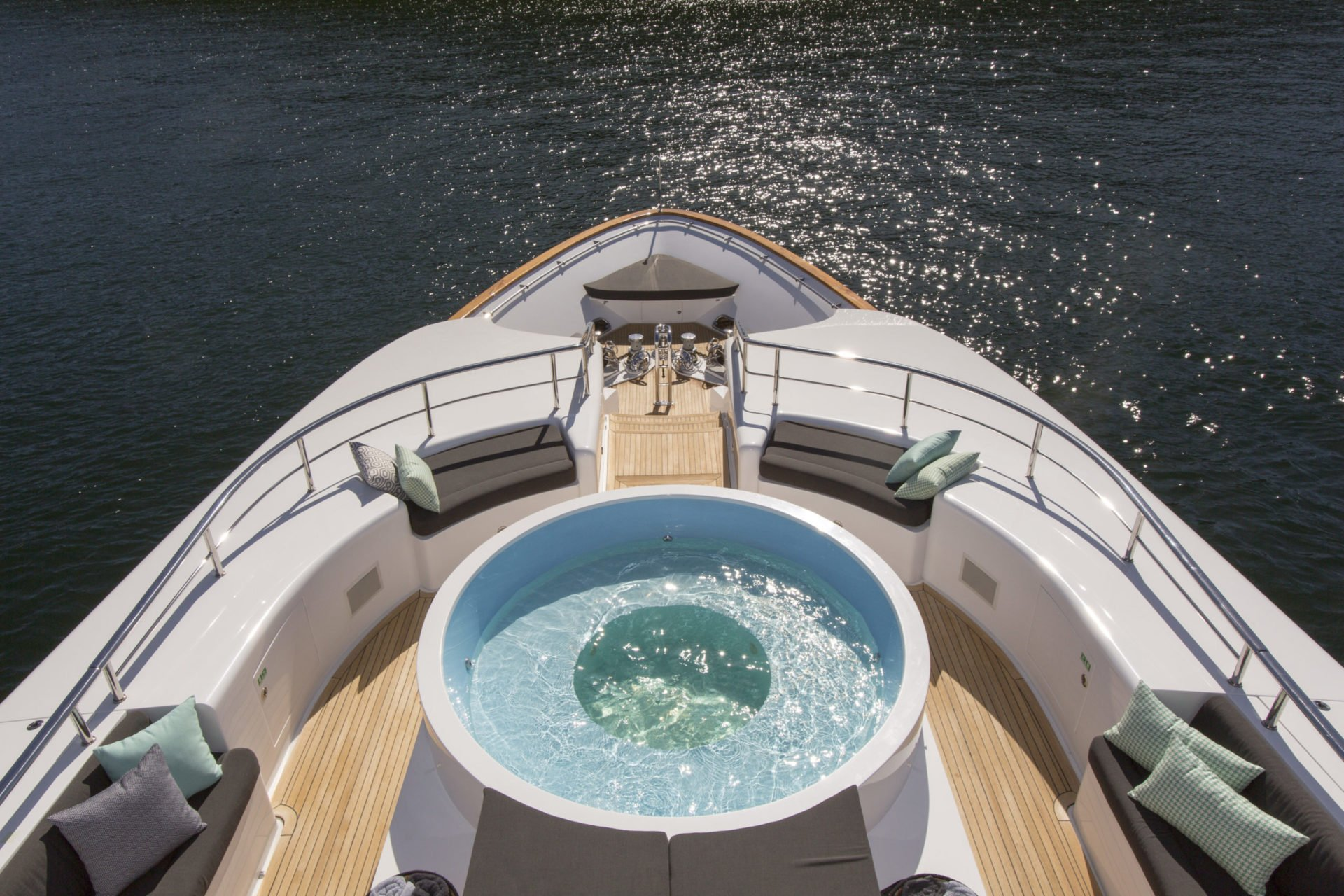 aerial view of the bow of yacht Masteka 2 with a jacuzzi