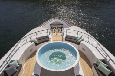 aerial of yacht with hot tub on deck