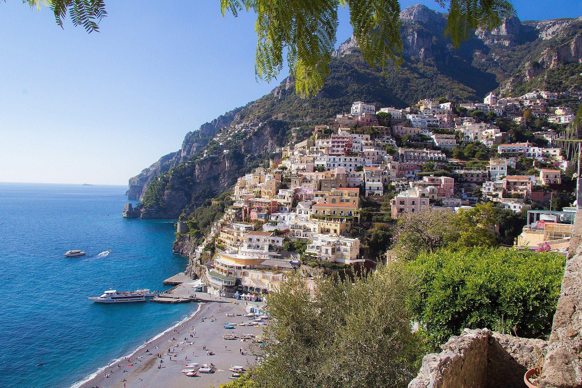 side view of the Amalfi coast