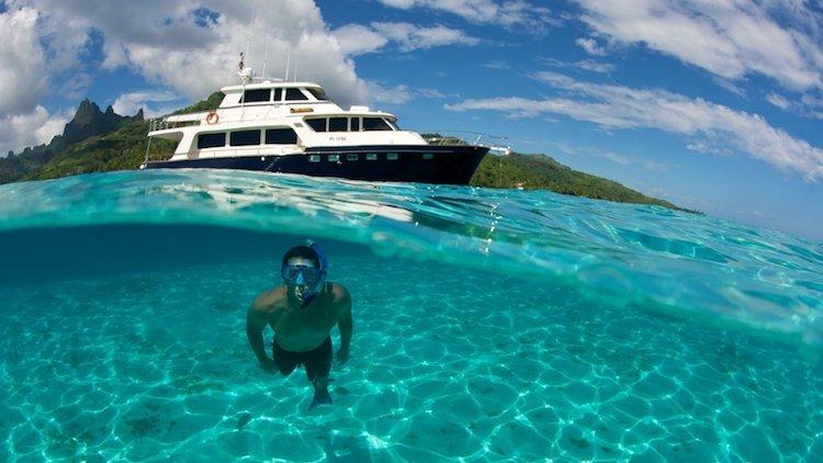 Snorkeling alongside Miss Kulani Yacht