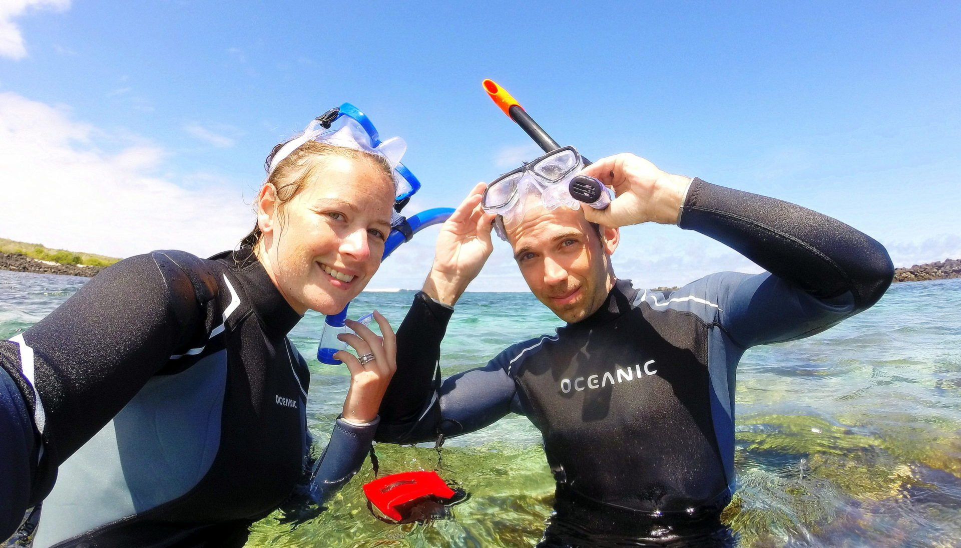 Couple in snorkel gear in the Galapagos