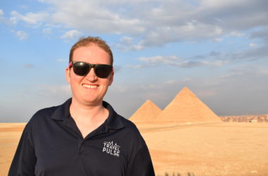 Eric Bowman in sunglasses at the Pyramids