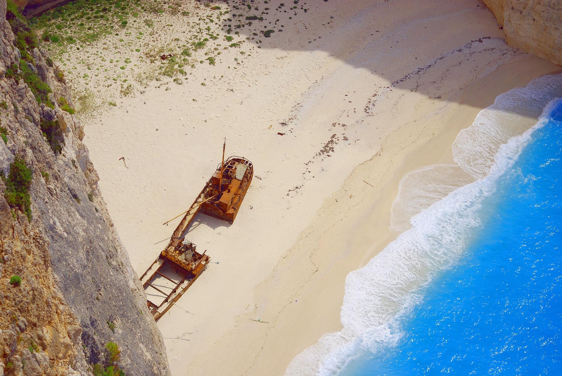aerial shot of Shipwreck Beach in Greece