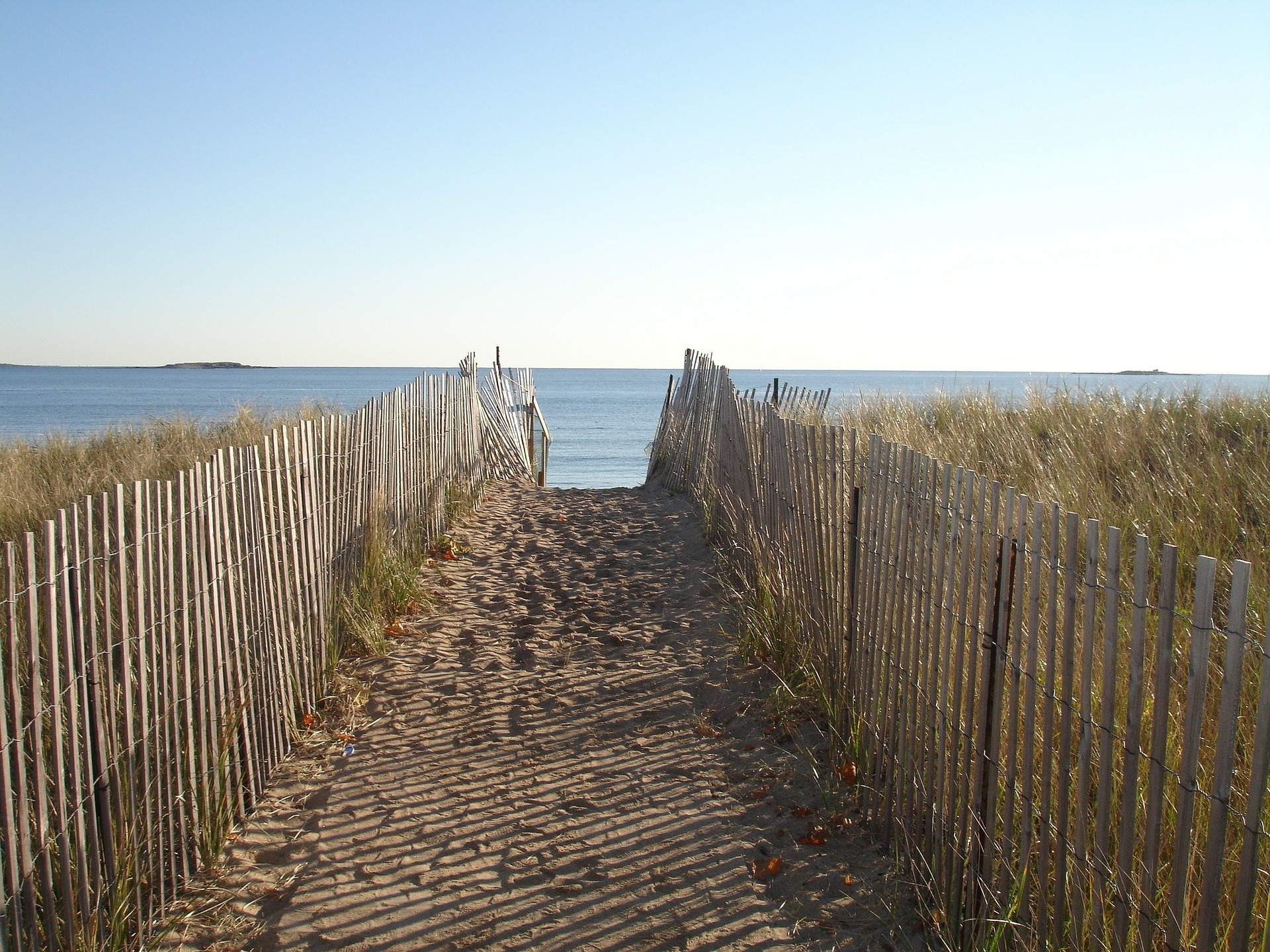sandy pathway leading to the beach in New England