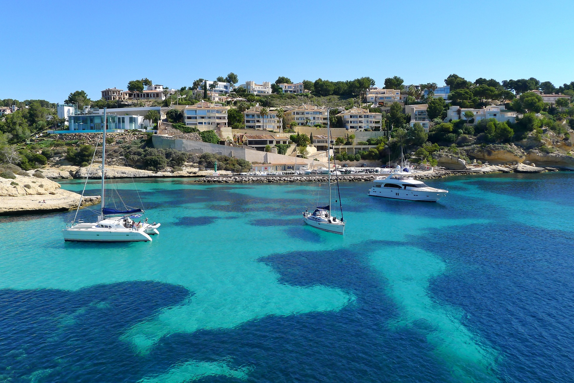 boats at anchor in Mallorca