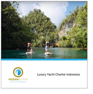 cover of OceanScape Yacht Indonesia e-book with mom, dad and daughter on paddle boards