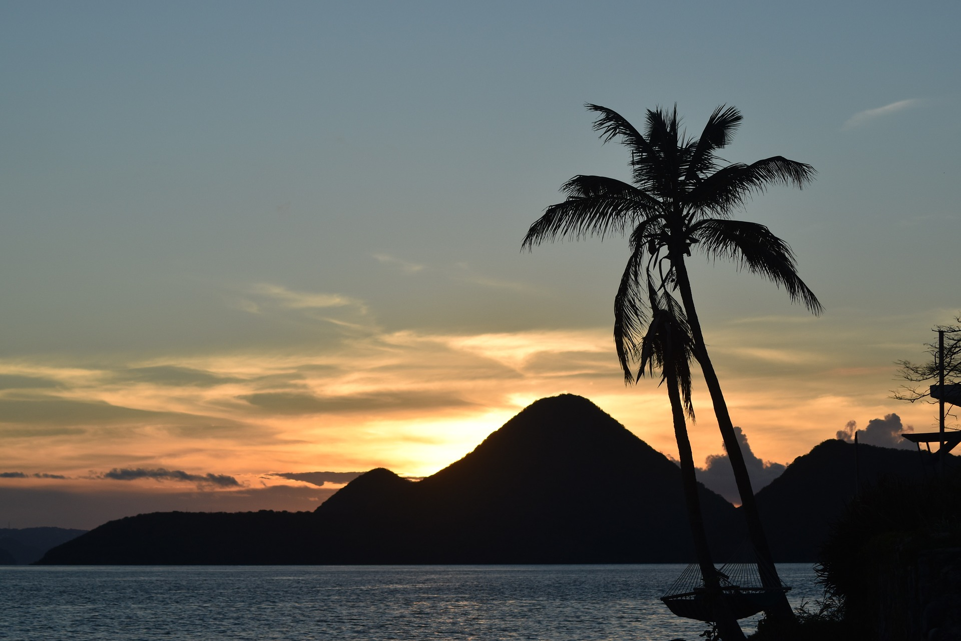 sunset with palm tree in foreground and mountain of Tortola, British Virgin Islands in background